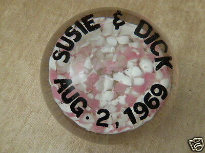 vintage Art Glass 1969 controlled bubble Paperweight SUSIE & DICK pink & white
