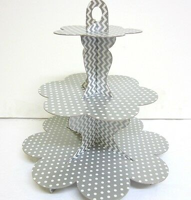 Silver  Polka Dot Chevron 3 Tier Cardboard Party Cupcake Stand Tree