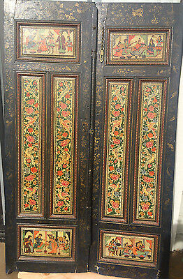 A Pair Of Antique Persian Miniature Painting On Wooden Qajar Doors Islamic Panel