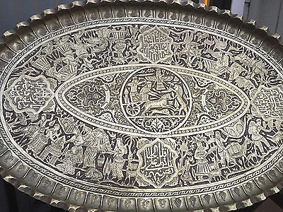 Magnificent Vintage Persian qalamzani  Brass Tray/Table Signed Master Ali Hafezi