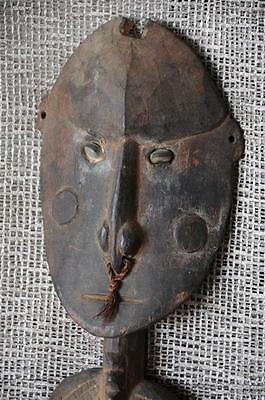 Old Papua New Guinea Sepik River Carved Wooden Food Hook with Shell Eyes...