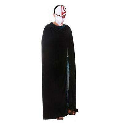 Black Hooded Cape Costume Cloak Halloween Fancy Dress Adult Size Coat Accessory