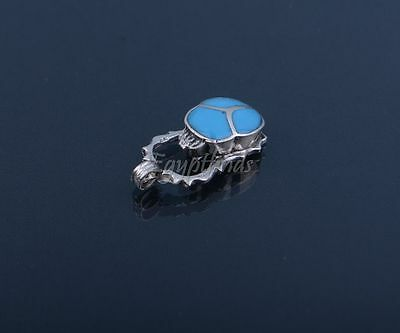 Fabulous Egyptian Hand Made Sterling Silver Inlaid Scarab With Ankh Pendant