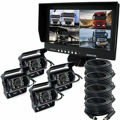 "9"" Quad Split Screen Monitor Truck Trailer Backup Camera System Reversing Camera"