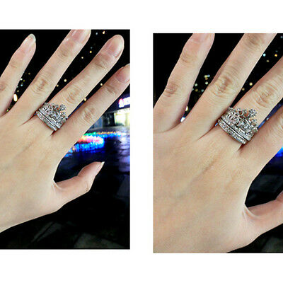 Fashion Gothic Cool Double Finger Gold/Silver Crown Punk Rock Ring JEWELRY