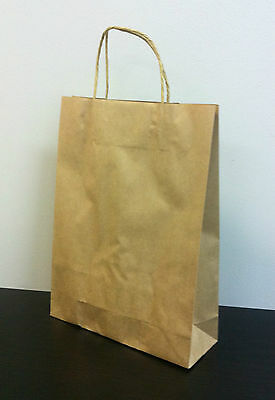 100pcs MEDIUM KRAFT Brown Paper Gift Carry Shopping Bags with handles 350x260x90