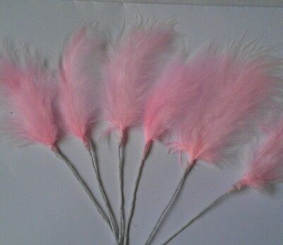 6 turquoise ostrich feathers sprays on wire for decorating cakes,floral crafts