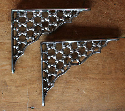 "2 x 6 x 5"" HONEYCOMB ANTIQUE CAST IRON VICTORIAN SHELF BRACKETS PEWTER BR05px2"