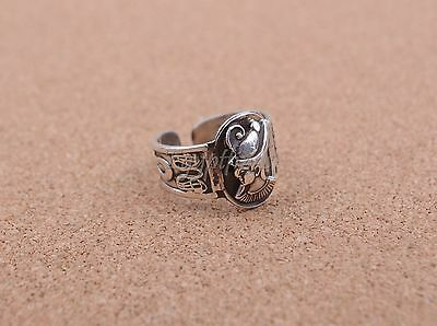 Pretty Egyptian Hand Made Solid Silver Pharaoh With Ankh And Cobras Ring Unisex