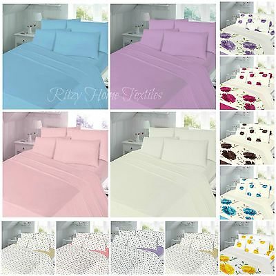 Thermal Flannelette Fitted Flat Sheet Set With Pillowcase Single Double King New