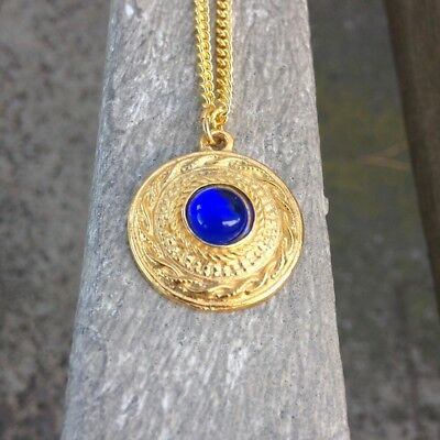 Henry VIII King Blue Gem Pendant Necklace for Historic Renaissance Costume