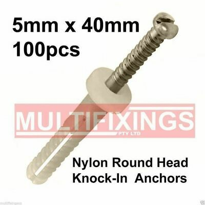 100pcs 5mm x 40mm Round Head Collar Type Nylon Knock-in Nail in Plug Anchor