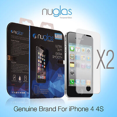 2X Genuine NUGLAS Tempered Glass Screen Protector for Apple iPhone 4 4S
