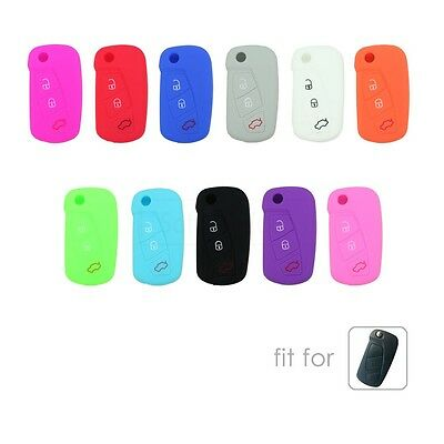 Silicone Cover Holder Bag fit for FORD KA Flip Remote Key Case Fob 3 Button 9700