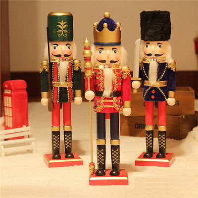 38cm/15'' Wooden Nutcracker Vintage Soldier Painted Table Walnut Christmas Gift