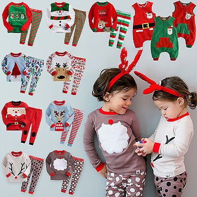 "Vaenait Baby Toddler Kids Clothes Christmas Sleepwear Set ""Merry X-Mas"" 12M-7T"