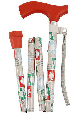 Crutch Handled Deluxe Folding Stick - Stamps