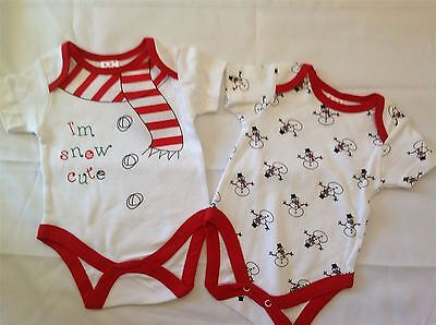 New 2 Piece Christmas 'I'm Snow Cute' Baby Outfit Vest Bodysuit