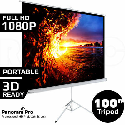 "100"" Inch Portable Tripod Projector Screen Conference Presentation HD Projection"