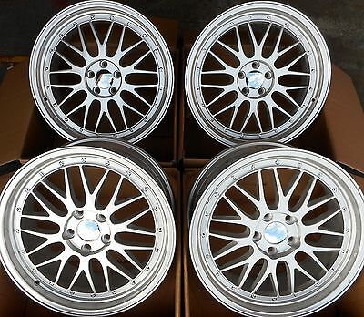 """18"""" Silver Alloy Wheels Staggered 5X100 Fits Volkswagen Vw Golf / Polo Mk4"""