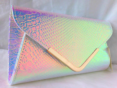 New Hologram White Faux Leather Evening Day Clutch Bag Fishscale Effect Patent