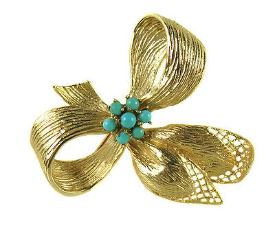 14k Yellow Gold Antique Ribbon Brooch Pin With Turquoise Stones