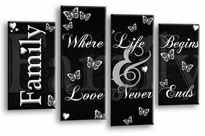 Large Family Quote Canvas Picture Black And White 4 Panel Split Wall Art Multi
