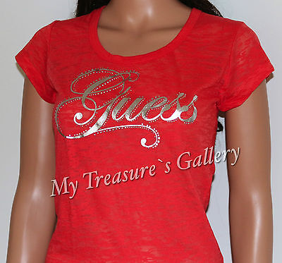 NEW Guess Logo Burnout T-shirt Tee Top Orange Size S NWT