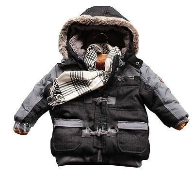 Newborn Infant Baby Boys Thick Winter Warn Coats Jackets With hat Clothes 0-3T
