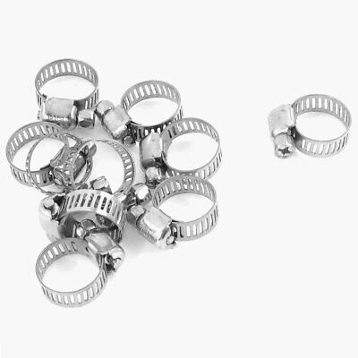 10 Pcs Adjust Stainless Steel Worm Drive Hose Clips Clamp 9mm-16mm