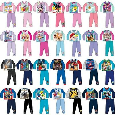 Boys Girls Kids Baby Toddler Teenage Long Sleeve Character Pyjamas pjs 1-12 Yrs