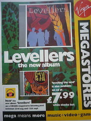 "the LEVELLERS # LEVELLING THE LAND # ALBUM RELEASE # ""12 x 9"" ADVERT #"