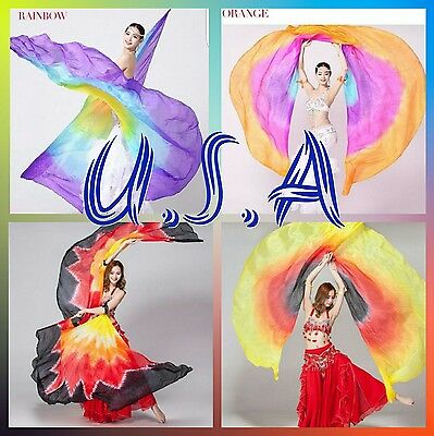 Isis Wings Belly Dance ,100% Silk (2 wings+ 2 sticks+ Bag) Quick Shipping USA.