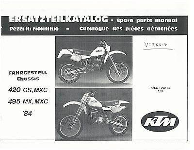 ktm parts manual book chassis 1984 420 gs, 420 mxc, 495 mx & 495