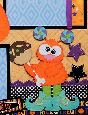 Candy Monsters / Halloween - 2 Premade Scrapbook Pages PAPER PIECING for Album