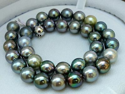 "18""9-10mm natural tahitian black multicolor pearl necklace"