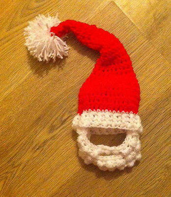 Hand Crochet / Knitted XMAS SANTA OUTFIT  hat and beard set / PHOTO PROP 0-3