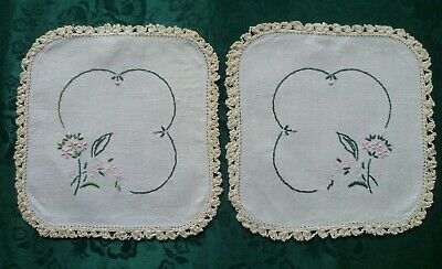 Vintage Pair Of Doilies Hand Embroidered Floral  With Cream Crocheted Edges