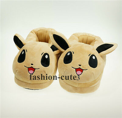 """New Pokemon Eevee Soft Warm Cosplay Adult Plush Shoes Slippers 11"""" Indoor Gift"""