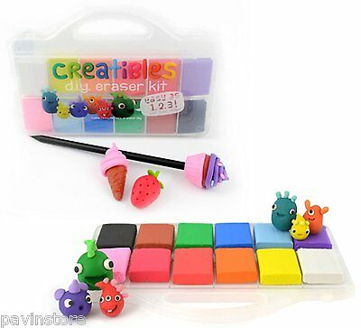 OOLY Creatibles DIY Erasers, 216g Soft Clay 12Colors, W/Plastic Box Drawing Art