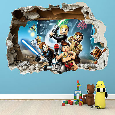 Lego Star Wars Smashed Wall Sticker 2 - 3D Bedroom Boys Girls Wall Art Decal