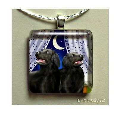 Flat Coated Retriever Dog 1 Inch Glass Tile Pendant Necklace With Chain