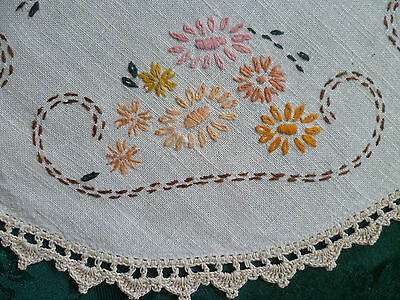 Vintage Hand Embroidered Floral Design Round Doiliey With  Cream Crocheted Edges