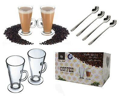 4 x 300ml Latte Glasses Cups Mugs sets for Coffee Tea Cappucino With FREE SPOONS