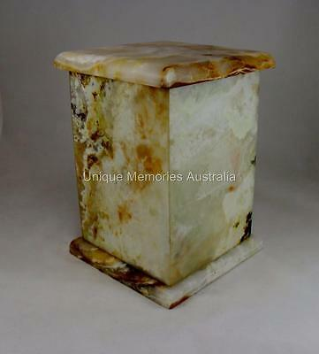 Solid Genuine Marble Cubic Mottled Design Adult Memorial Cremation Funeral Urn