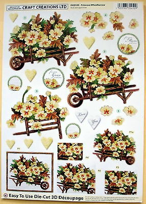 "A4 Die Cut 3D Paper Tole Decoupage ""primrose W/b"" Sheet No Cutting Easy Dcd599"