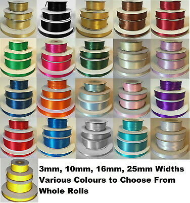 Reel of Quality 3mm 10mm 16mm 25mm Double Sided Satin Ribbon Roll- CHOOSE COLOUR