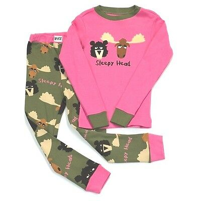 Lazy One Kids Children PJ Pajamas Sleepwear Toddler Pink Moose Bear Sleepy Head