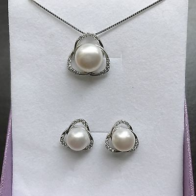 Genuine Cultured 7-8mm Freshwater Pearl Necklace and Earring Set S925 Silver