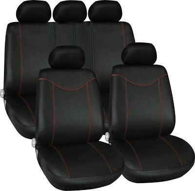 Universal Car Seat Cover Set New BK+RD  9Pieces For Crossovers SUV Sedan